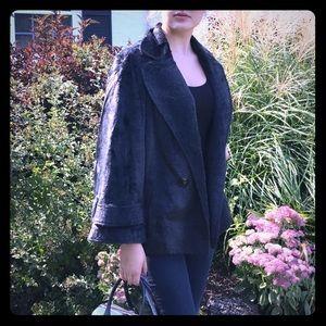 Vtg grey faux fur blazer jacket
